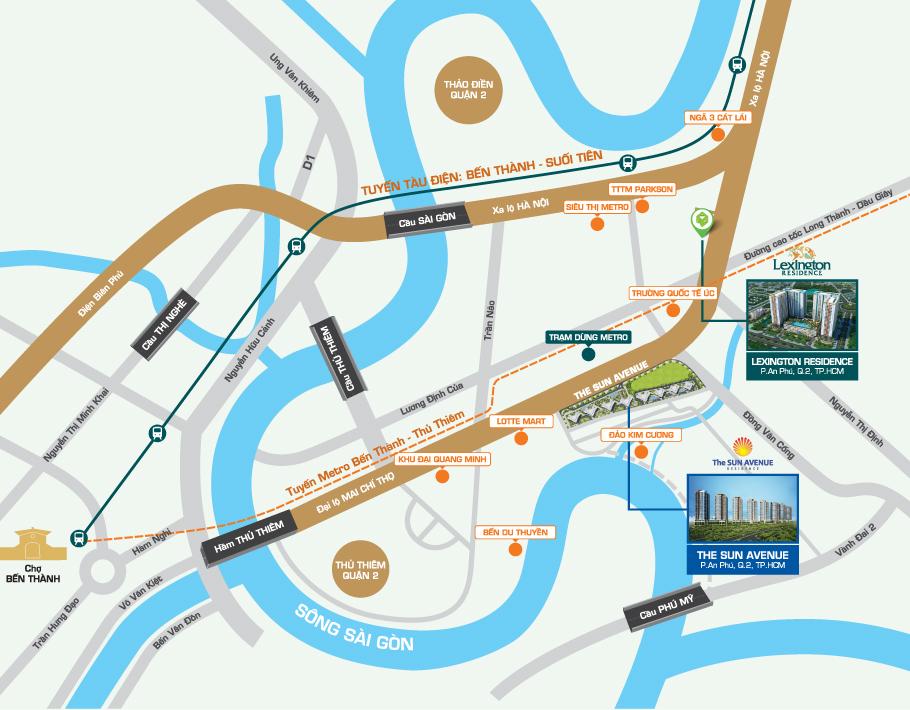 Bản đồ vị trí căn hộ Lexinton Residence
